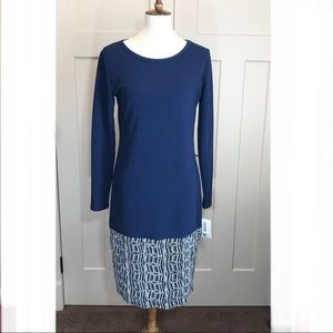 Lularoe Debbie Blue and Silver Sheath Dress
